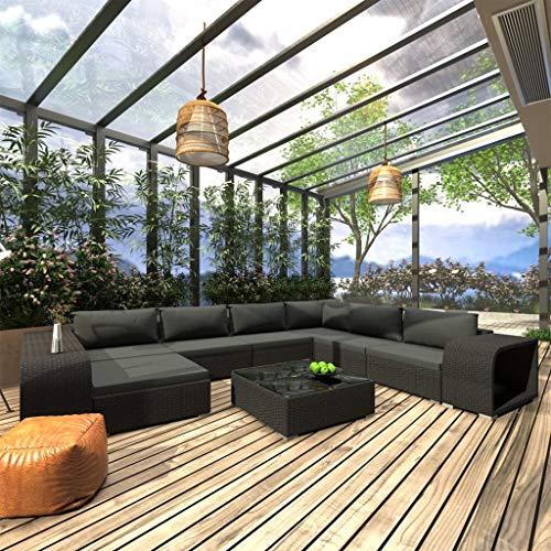UnfadeMemory Sofás de Jardín Exterior con Cojines,Muebles Modular de Jardín Terraza Balcón o Patio,Ratán Sintético (Negro, Mesa de Centro+6 Sofás+Otomana+2 Mesas Auxiliar)