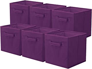 PowerKing Lot de 6 bacs cubiques de rangement pliables en tissu pour placard et jouets, Polypropylène, violet, purple