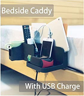 Bedside Caddy Bed Side Storage Organizer Cellphone Tablet Book Remote Glasses Black with Dual USB Charger Support Charging (With USB Charger and Power Cord)