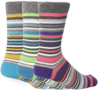 6 Pairs of Mens Striped Design Honeycomb Soft Top Socks Collection By Giovanni Cassini/UK Size 6-11 Eur 39-45 (Sydney)