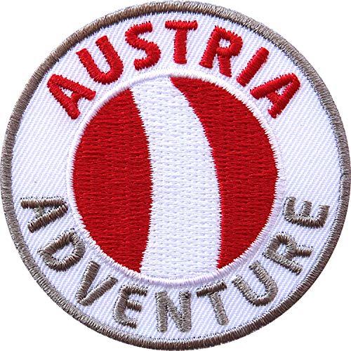 Club of Heroes 2 x Österreich Abzeichen 60 mm gestickt/Austria Adventure/Aufnäher Aufbügler Sticker Wappen Patches für Kleidung Rucksack/Reiseführer Abenteuer Flagge Fahne Land