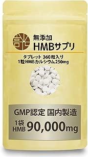 無添加 国産 HMB サプリメント 360粒 1袋 90000mg GMP認定