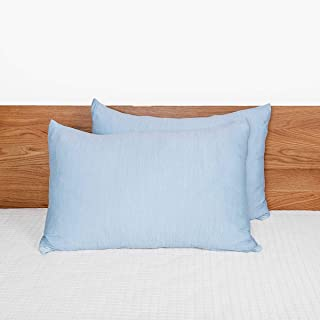 Zuounun Cooling Pillowcase for Hair and Skin, Soft Silky Pillowcases 2 Pack, Standard Size(Blue, 20x26 inches) Pillow Case...