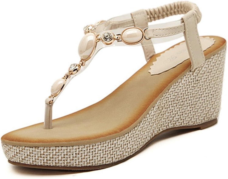GIY Women's Bohemian Wedges Sandals Summer Beach Platform Comfort Flip Flops Roman Bling Elastic Thong