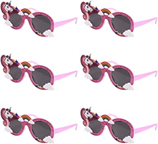 Ocean Line Glittered Pink Unicorn Sunglasses – Funny Party Costume Glasses, Novelty Shades, Photo Booth Props, Fancy Dress Party Supplies Accessories for Kids & Adults