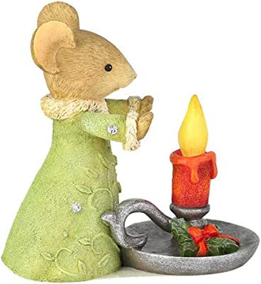 Enesco Tails with Heart Christmas Glow Figurine, 2.05 Inch, Multicolor