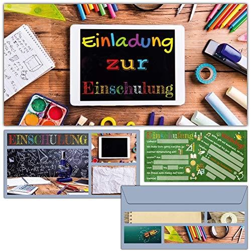 Einschulung Einladungskarten mit Umschlag (12er Set) TABLET - Einladungen für Kinder zum Schulbeginn Schuleingang Schulanfang Karten von BREITENWERK