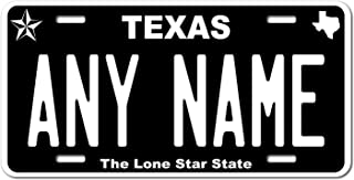 TEAMLOGO Personalized Texas License Plate - Sizes for Kid's Bikes, Cars, Trucks, Cart, Key Rings Version 5