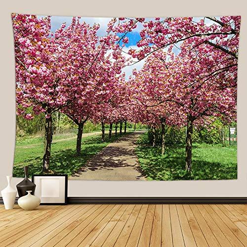KHKJ Flores de Cerezo Tapiz de fantasía Colgante de Pared Decoración de Dormitorio Hippie Tapiz de Pared psicodélico Macrame Mandala Tapiz A16 73x95cm