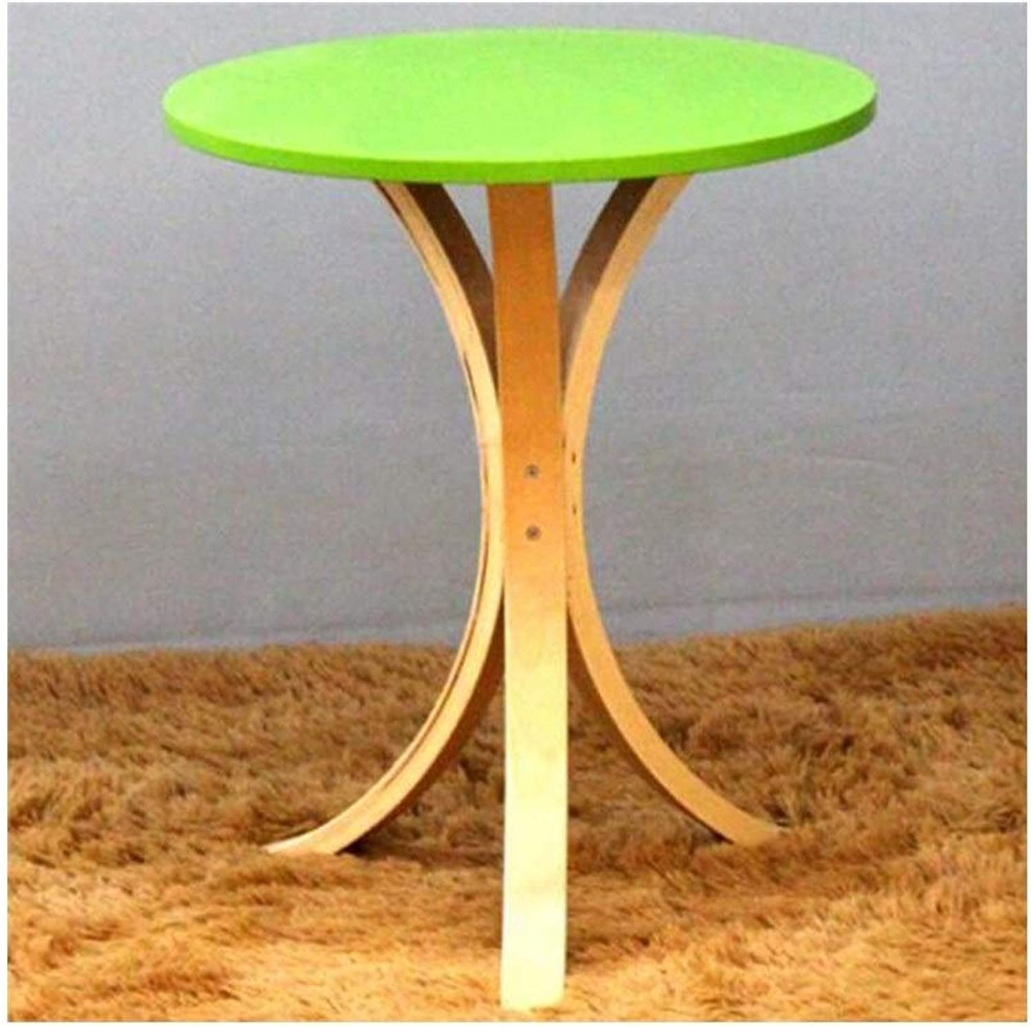 LQQGXLPortable Folding Table Solid Wood Round Table, Coffee Table, Creative Modern Minimalist Coffee Table, (color   Green)