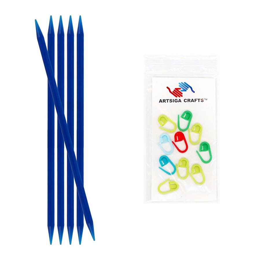 Knitter's Pride Trendz Double Pointed Knitting Needles (5-Pack) 8 inches (20cm); Size US 10.5 (6.50mm) Bundle with 10 Artsiga Crafts Stitch Markers 700026