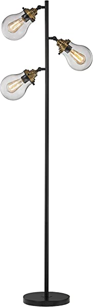 LeeZM Modern Glass Shade Floor Lamp For Living Rooms Bedrooms Office With Reading Light Mid Century Rustic Corner Tall Standing Up Pole Lamp With 3 LED Bulbs Vintage Industrial Style Black Bronze