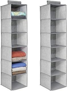 mDesign rangement suspendu en tissu (lot de 2) avec 6 compartiments – étagère suspendue en tissu pour la chambre des enfan...