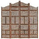 vidaXL Madera Mango Biombo 4 Paneles Tallado a Mano Divisor Pantalla Separador Dormitorio Salón Oficina Despacho Sala de Estar Decoración Marrón