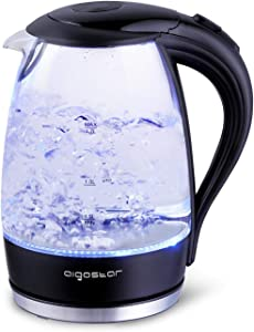 Aigostar Adam - Electric Water Kettle 1.7L 57OZ Kitchen Kettle Pot for Tea Coffee with Blue Led