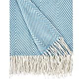 Herringbone Stripe Throw Blanket Decorative Soft Cashmere Blankets with Fringe 50 × 60 Inch Fuzzy Cozy Chevron Throws Lightweight for Bed, Sofa, Office, Car, Indoor, Outdoor, Light Blue and White