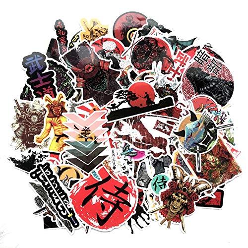 65 Uds Japón Bushidou Warrior Pegatinas para Ordenador portátil PVC Graffiti Pegatinas calcomanía Maleta Equipaje Guitarra Coche para niños Juguetes F3