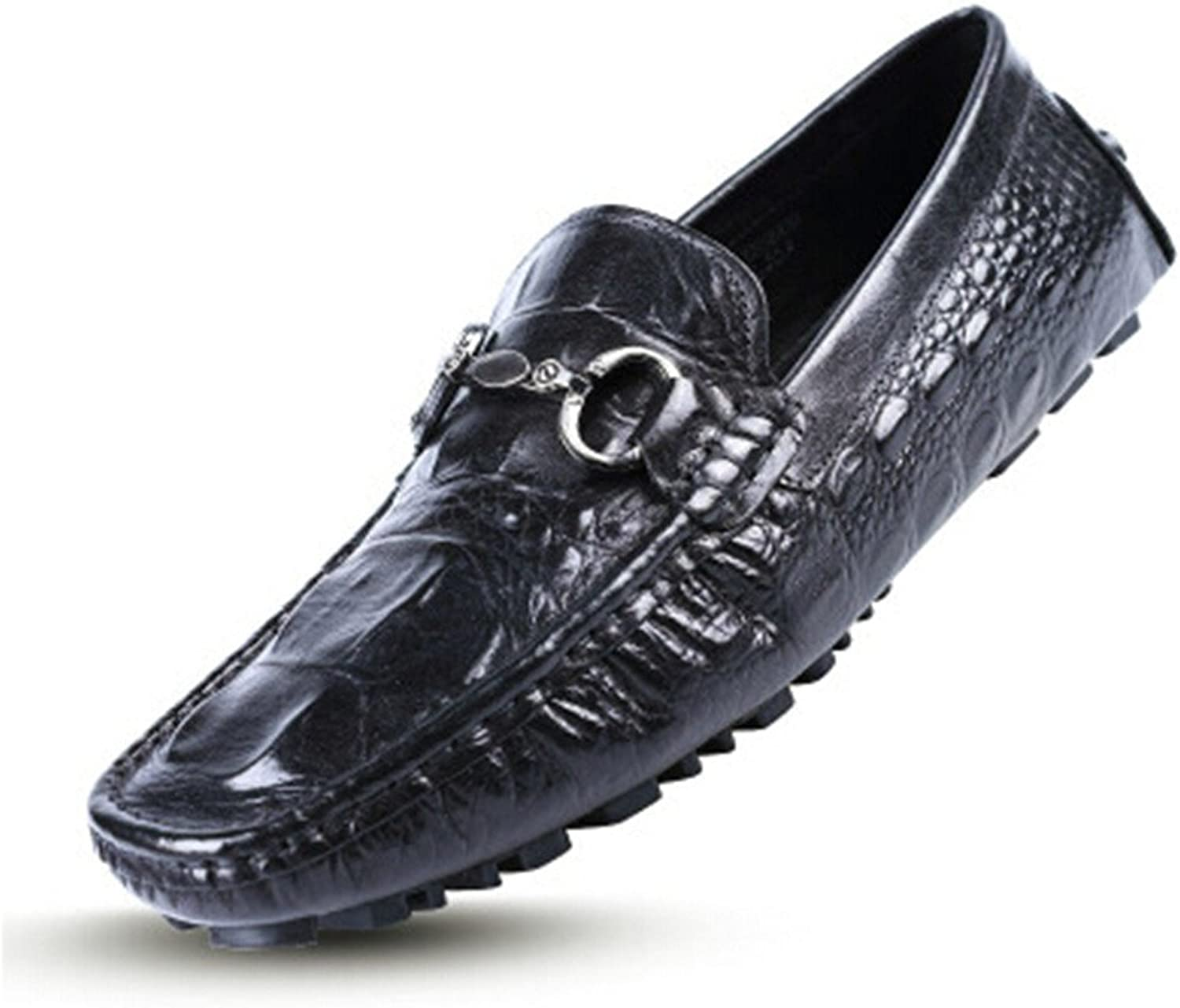 HAPPYSHOP(TM Real Leather Croco Casual Buckle Slip-on Driving Loafer Fashion Mens Boat shoes Just Cavalli