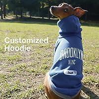 名入れ シティー プルオーバー フーディー ブルックリン イタリアングレーハウンド服 犬服 (ネイビー×グレー, S)