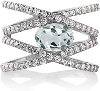 Sky Blue Aquamarine 925 Sterling Silver Women's Criss Cross Ring (2.03 Ct Oval Gemstone Birthstone Available 5,6,7,8,9)