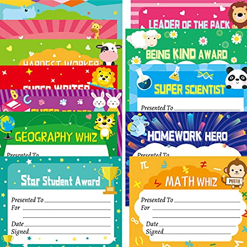"""40PCS Student of Award Certificates Recognition Achievement with Stickers 8.5"""" X 11"""" Graduation Classroom Supplies"""