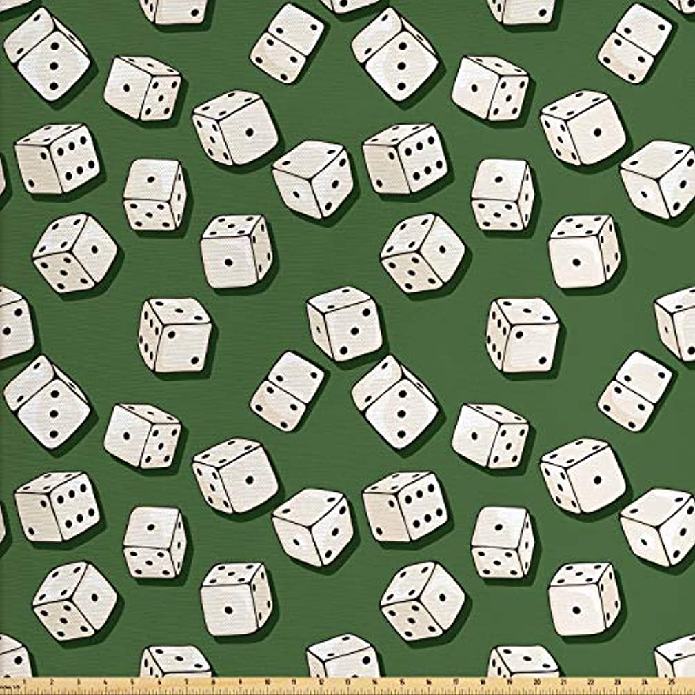 Lunarable Casino Fabric by The Yard, Cartoon Style Dices Pattern on Green Background Chance Game Lucky Jackpot, Decorative Fabric for Upholstery and Home Accents, 2 Yards, Green Cream Black