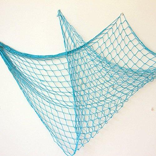 Bilipala Rustic Decorative Fishing Net Wall Decor Nautical Style Wall Hangings Ornaments, Blue