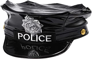 Police Hat Cop Hat Captain Hat Officer Hat Police Cosplay Halloween Party Accessories Stage Performance Military Caps - (Black)
