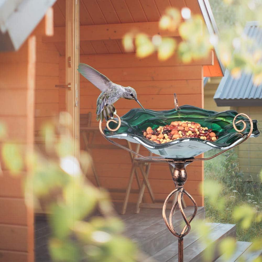Green MUMTOP 31 Inch Height Glass Birdbath Birdfeeder with Metal Stake Garden Yard Outdoor