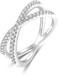 SOMEN TUNGSTEN 925 Sterling Silver X Cross Ring Cubic Zirconia CZ Wedding Band for Women