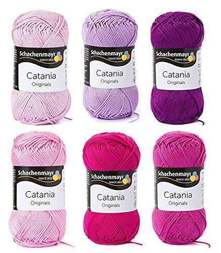 Set filo in cotone, Schachenmayr Catania # 5:rosa/lilla/rosa/lampone, gomitoli di cotone per lavorare a maglia e uncinetto
