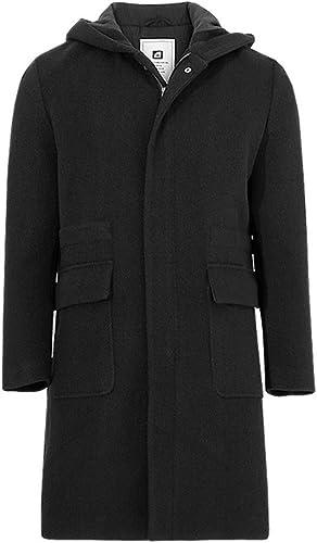 Fvbuhhi Les Hommes d'un Manteau en Poils de Fourrure, Homme de Manteau de Poil Long décontracté Homme,noir,XL