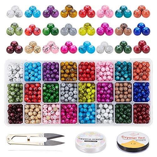 PandaHall 1560 Cuentas de Cristal de 6 mm, 24 Colores, Cuentas de Cristal pintadas en Aerosol, Cuentas Sueltas Redondas con Tijeras, 2 Rollos de Cuerda de Cristal, Agujas para Collares y Pulseras