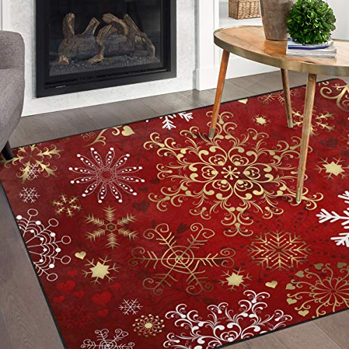 Naanle Christmas Snowflake Non Slip Area Rug for Living Dinning Room Bedroom Kitchen, 5' x 7'(58 x 80 Inches), Christmas Winter Holiday Nursery Rug Floor Carpet Yoga Mat