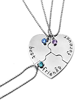Glimkis Best Friend Forever and Ever Rhinestone BFF Necklace Heart Shape Pendant Friendship Puzzle Stitching Necklace