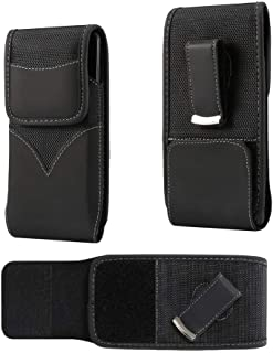 DFV mobile - New Style Nylon Belt Holster with Swivel Metal Clip for HTC Desire 310 Dual - Black