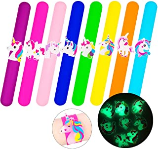 Tense 8 Pcs Slap Bracelets for Kids, Silicone Unicorn Wristband, Novelty Safe Toy Gifts for Boys & Girls Birthday Party Supplies Favors