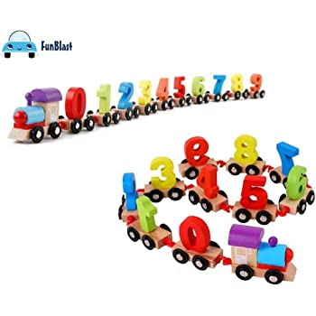 FunBlast® Wooden Digital Colourful Train, Educational Model Vehicle Toys , Vehicle Pattern 0 to 9 Number, Educational Learning Toys for Kids