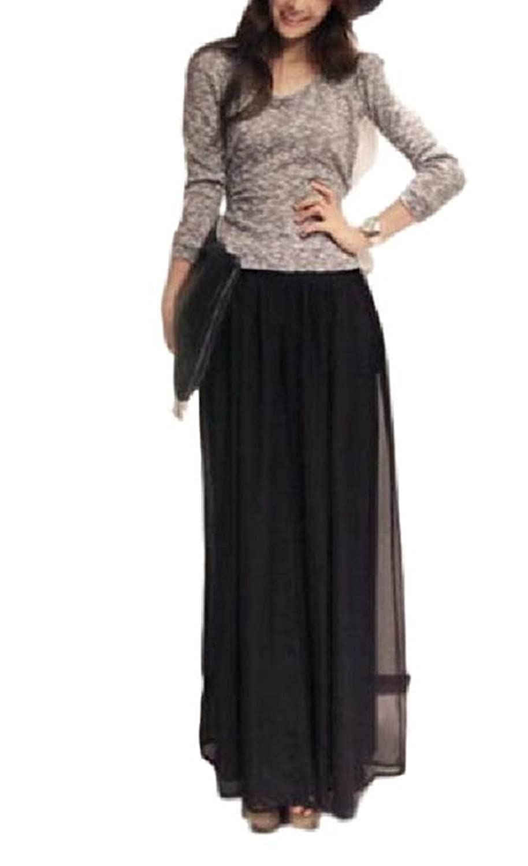 (レアノリ)Leonori レディース ガウチョ パンツ 大きい マキシ シフォン かわいい プリーツ ロングスカート