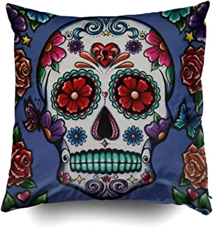 Musesh Christams Skull Cushions Case Throw Pillow Cover for Sofa Home Decorative Pillowslip Gift Ideas Household Pillowcase Zippered Pillow Covers 20X20Inch
