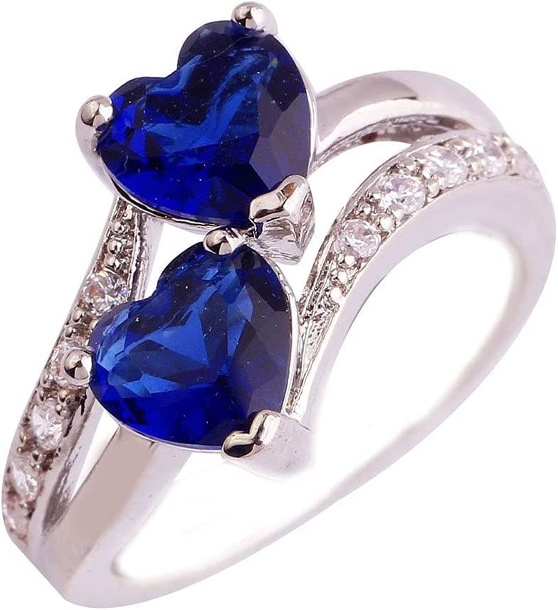 Women's Double Heart Ring Unique Engagement Created Mystic Rainbow Eternal Promise Ring