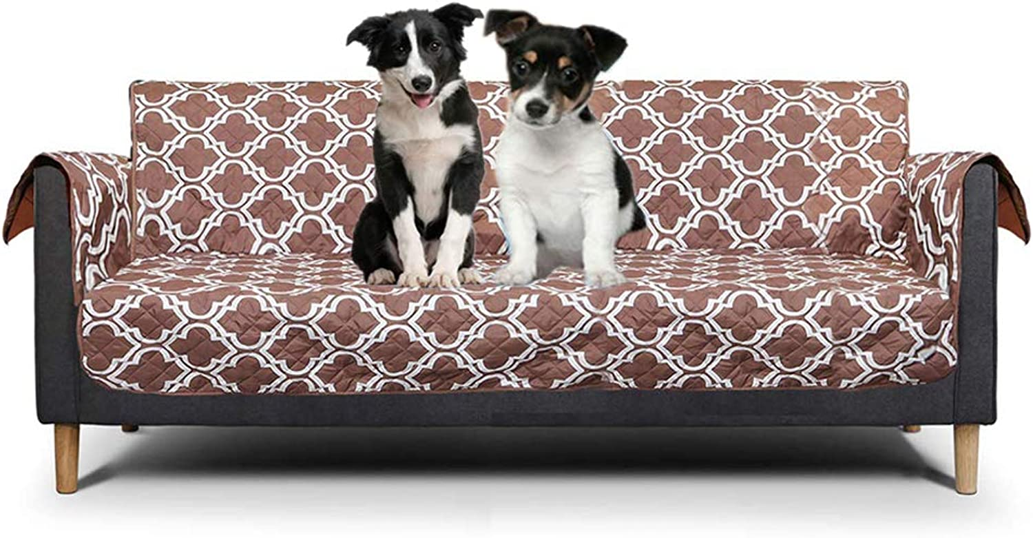 Quilted Sofa Slipcover,Furniture Predector for Pets Kids,lightcoffee,sofa