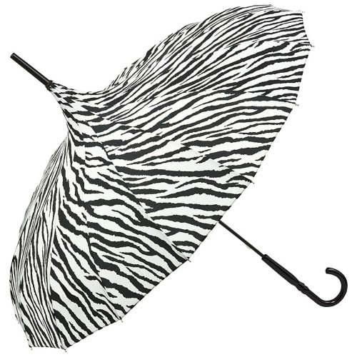 VON LILIENFELD Regenschirm Damen Sonnenschirm Stockschirm Pagode Cécile gestreift Zebra