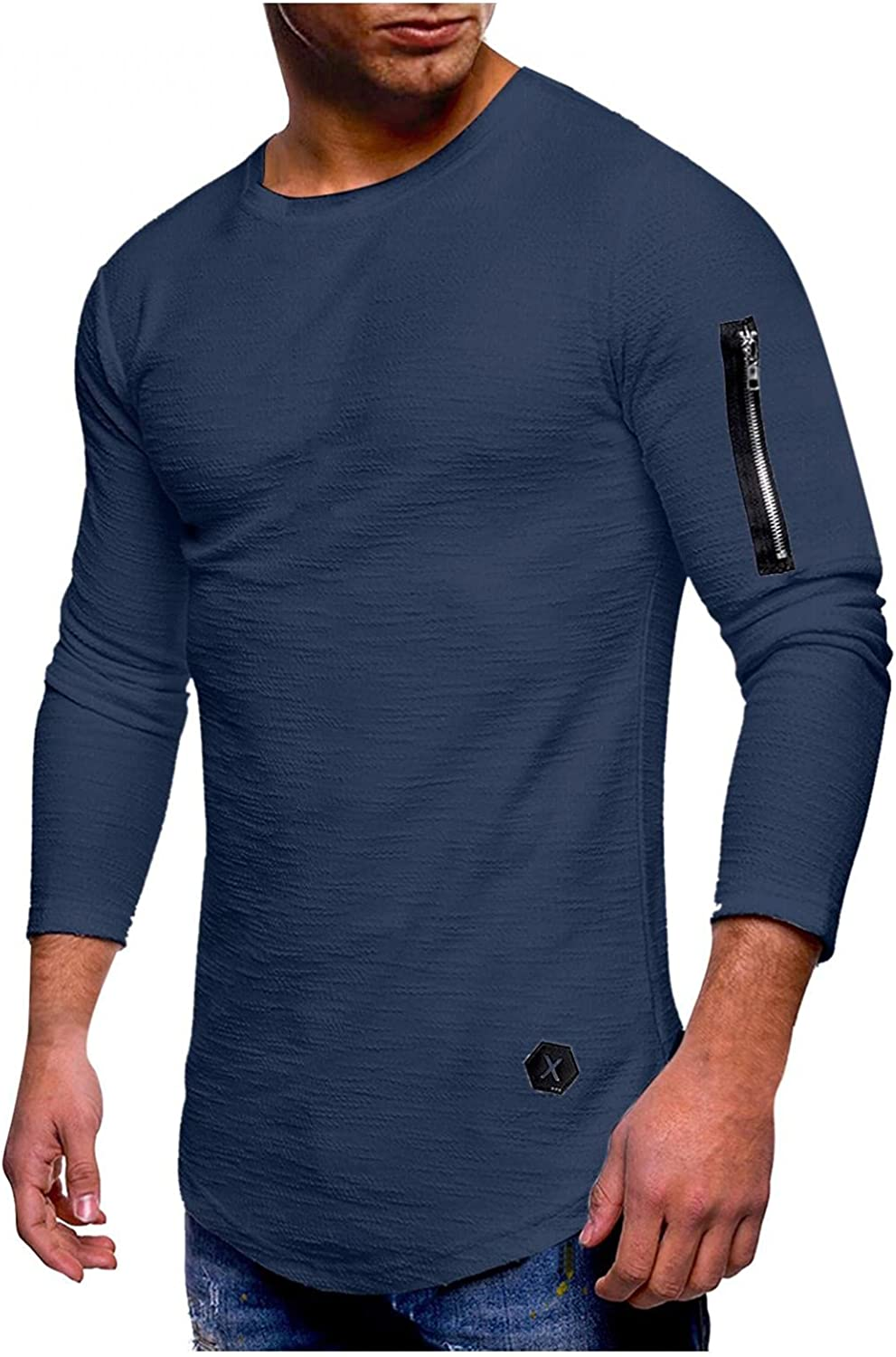 Burband Mens Regular Fit Long Sleeve Athletic Jersey Shirts Casual Lightweight Slim Fit Cotton Crew V Neck Muscle Tees