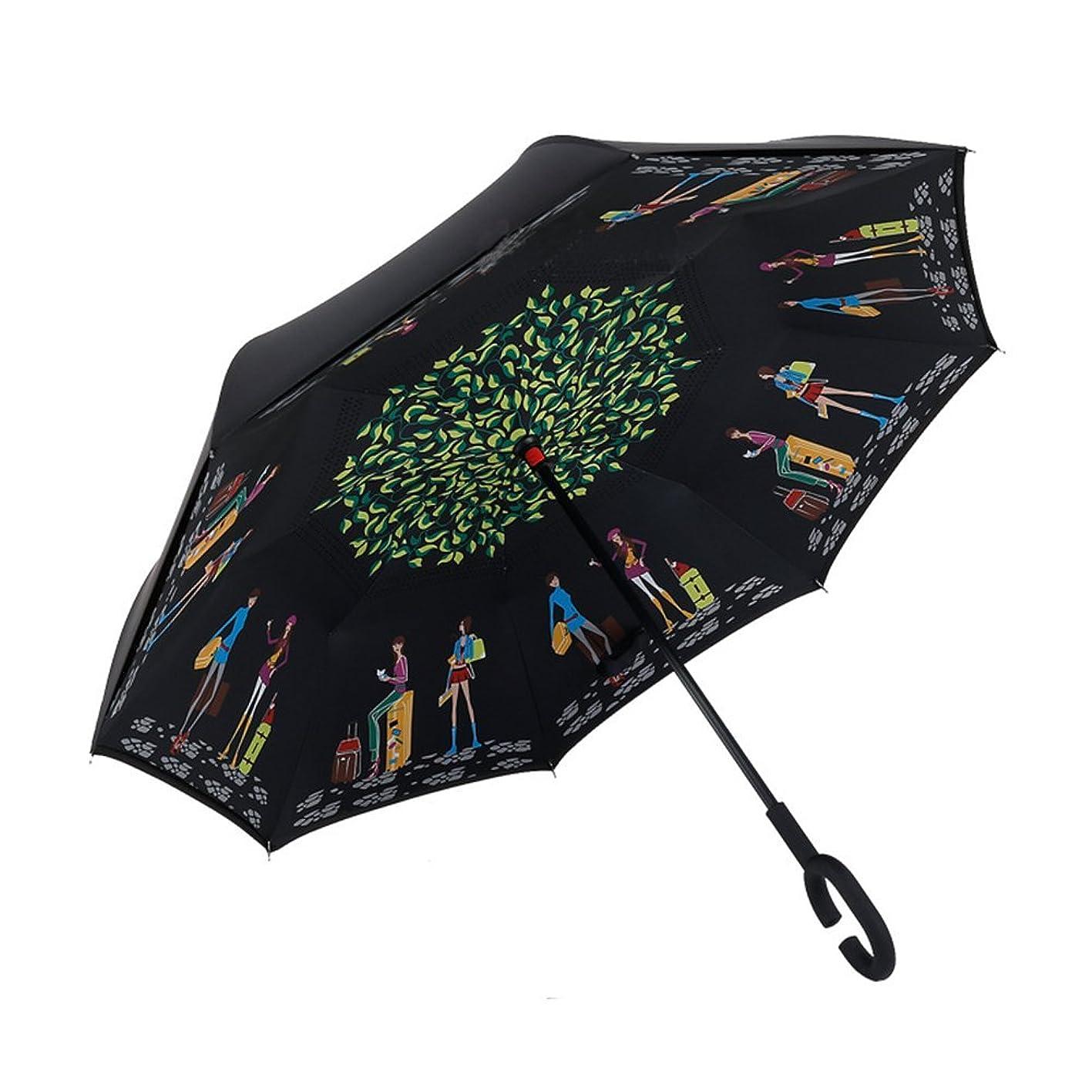 高速道路値丈夫長傘 逆さ傘 日傘 かさ さかさま傘 逆さ傘 長傘 UVカット 超撥水 逆さに開く傘 濡れない 傘 レディース 傘 メンズ 傘 おしゃれ 晴雨兼用 アイディア (写真通り)