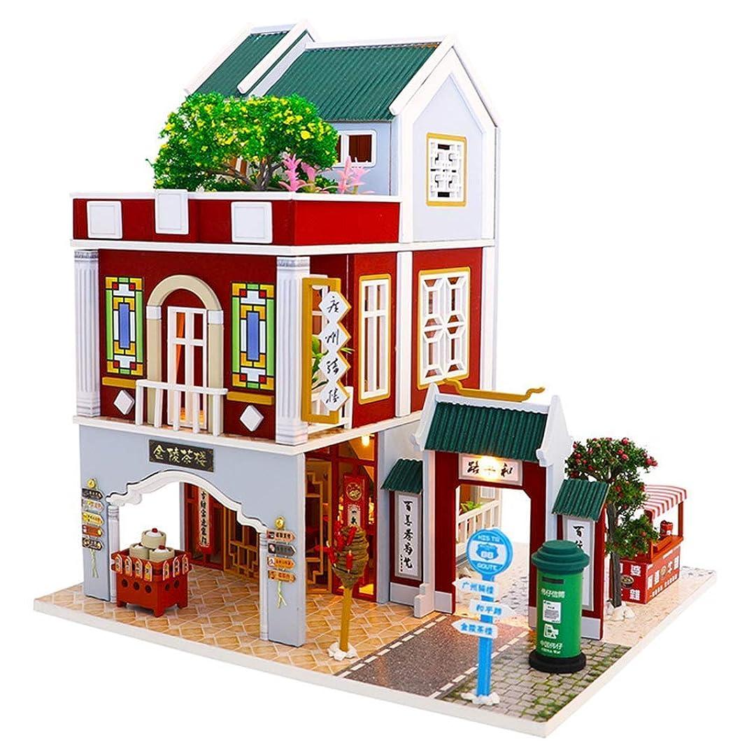 パトロン山積みの地上のドールハウス建築モデル構築キット、DIYミニチュアドールハウス木製家具キット、Ledライトとオルゴールを備えた手作りのミニモダンモデルプラス、子供のための1:24スケールのクリエイティブドールハウスおもちゃ