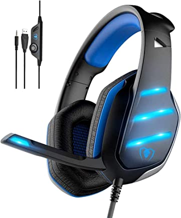 $20 Get Gaming Headset,MMUSC Stereo Headphones for Laptop,Tablet,PS4, PC, Xbox One Controller, Noise Cancelling Over Ear Headset with Mic, LED Light, Bass Surround
