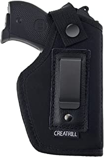 Creatrill Inside The Waistband Holster | Fits M&P Shield 9mm.40.45 Auto/Glock 26 27 29 30 33 42 43/Ruger LC9, LC380/Springfield XD & Similar Pistols | Gun Concealed Carry IWB Holster