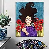 Tragen von Brillen Mädchen Poster Vintage Leinwand Malerei