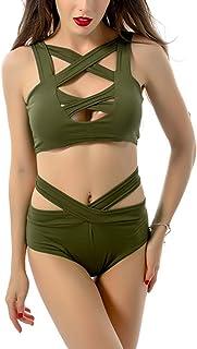 6e500e1dfc LANNORN Femmes 2 pièces Six Couleurs Sexy Bikini Push up Couleur Unie  rembourré Taille Bodycon Bandage